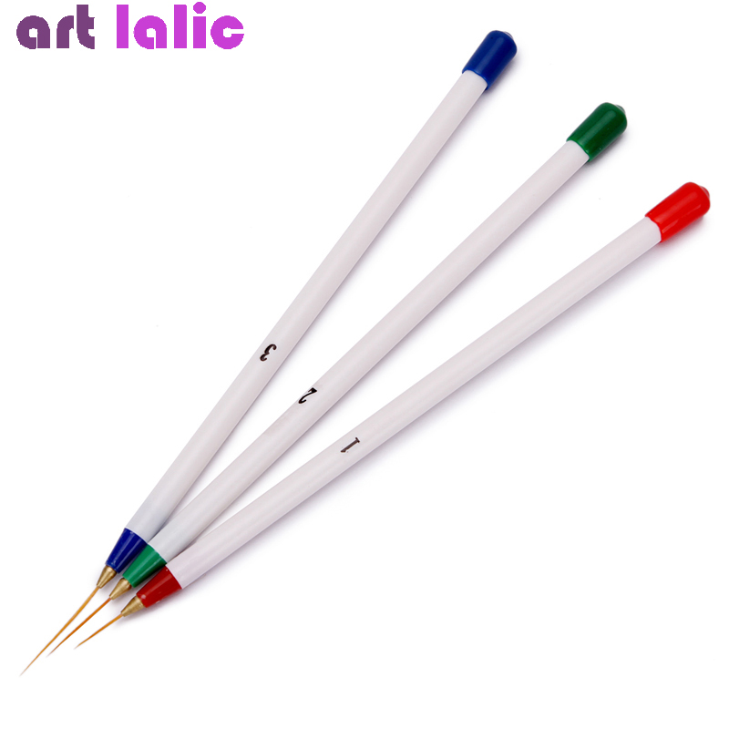 3Pcs Nail Art Tips Tools Polish Pen Brush Drawing Stripe Liner DIY Nail Dotting DIY Decorations