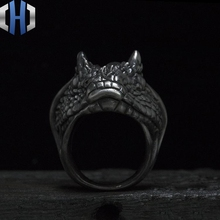 Original Works Desert Horned Viper Handmade Silver 925 Ring Dark
