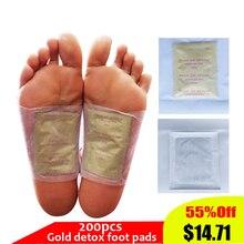 200 шт./лот детоксикационный пластырь для ног Золотой Премиум детоксикационные подушечки для ног улучшающие сон подушечки для похудения против отеков травяные очищающие пластыри