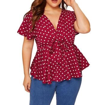Women's V Neck Short Sleeve Shirt Top Spring Summer Polka Dot Knot Front Blouse Tee Shirt Femme Plus Size 5XL Women Clothes 2020 knot side polka dot peplum top