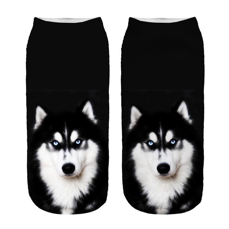 Hot Selling 3D Printing Children Socks Pet Dog Design Fashion Unisex Christmas Gift Socks Low Ankle Funny Sock For 8-16T Kids