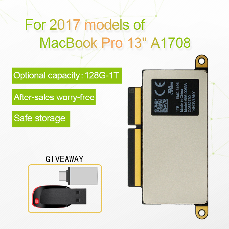 A1708 Laptop SSD 128GB 256GB 512GB 1TB for Macbook Pro Retina 13 3inch 2017 Year 1708 Solid State Disk PCI-E EMC 3164 EMC 2978