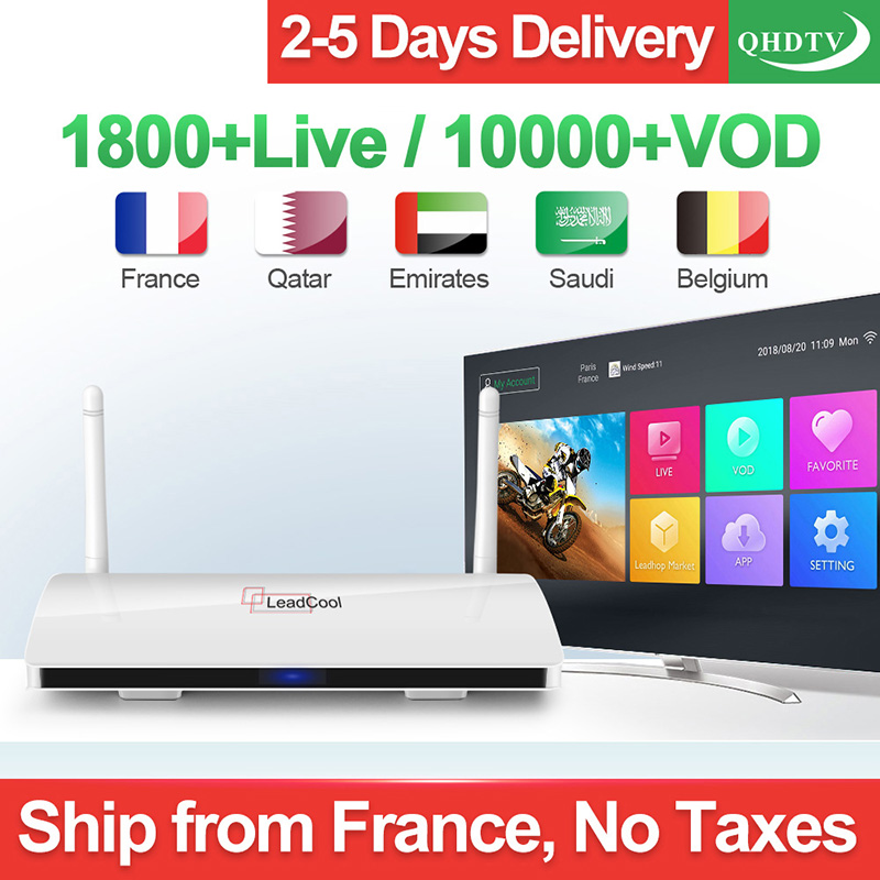 Leadcool QHDTV IPTV Box French Arabic IPTV 1 Year Subscription Code Smart Android Netherlands France Belgium Arabic IPTV Top Box