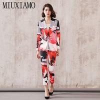 MIUXIMAO 2019 High Quality Autumn Fashion Turn down Collar Long Sleeve Jacket + Full Length Pants Flowers Print Suit Women