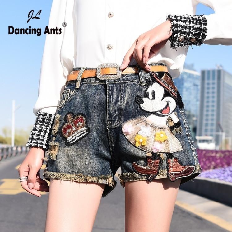 Women Shorts Jeans Shorts Feminino Denim Cartoon Print Leg-openings Plus Size Ripped Sequins Shorts With Pockets 2020 New
