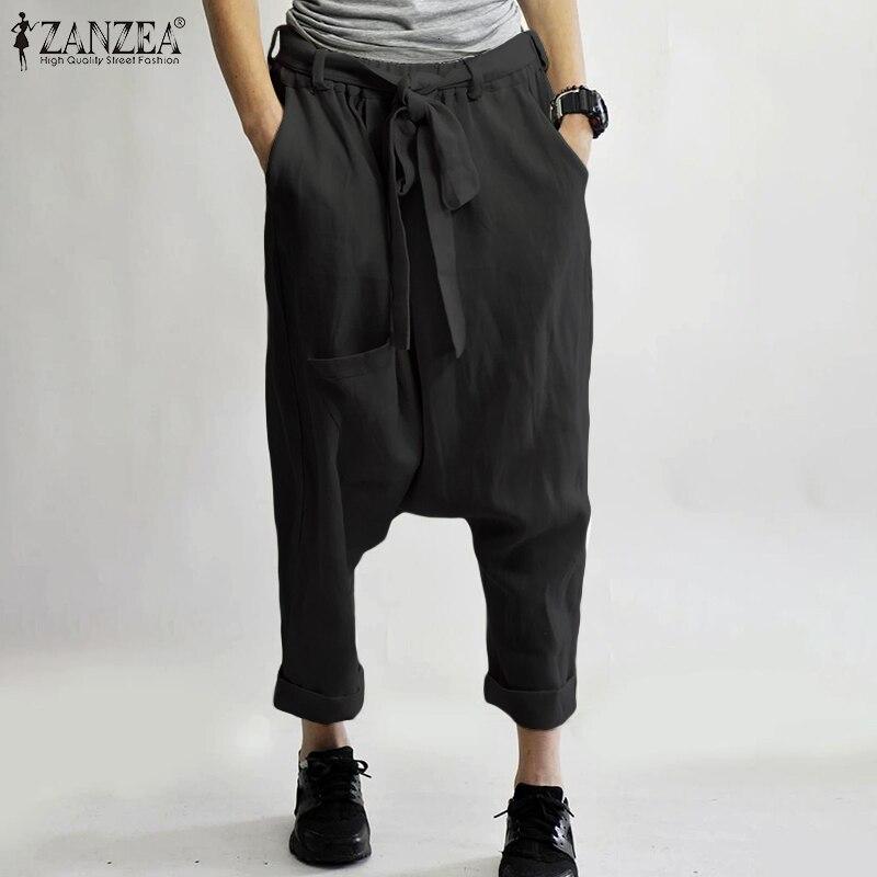 2019 Fashion ZANZEA Women Cotton Linen   Pants   Casual Drop-crotch Trousers   Wide     Leg     Pants   Casual Pockets Streetwear Belted Bottoms