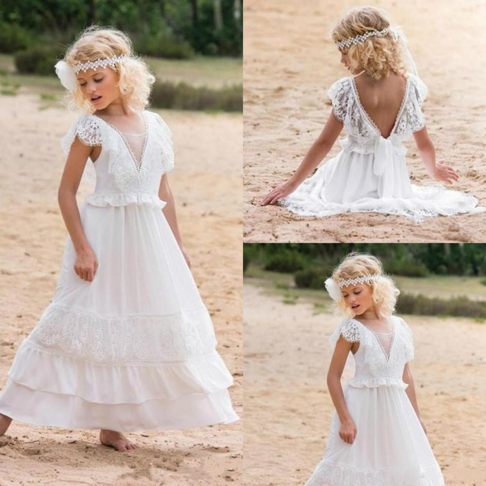 Boho Flower Dress Beach Tulle Wedding Princess Birthday Pageant Gowns