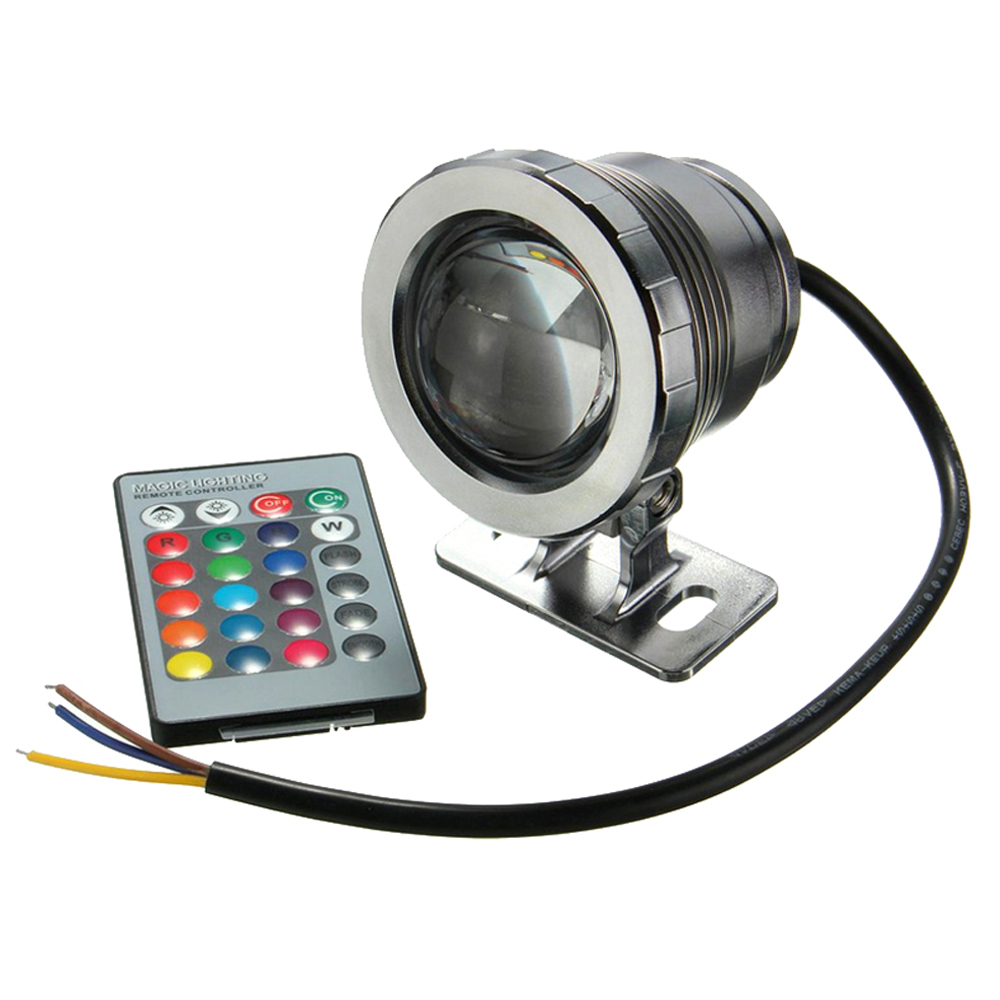 10W  Waterproof Spotlight  Landscape Lighting For Underwater Fountain Pool Light RGB With Remote Control