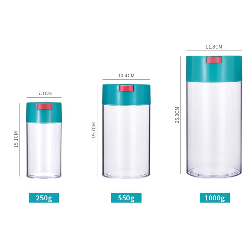 3Pcs Kitchen Food Storage Container Set -Coffee Beans Candy Box Fruit Fresh Saver Grain Transparent Sealed Cans(S,M,L) 3