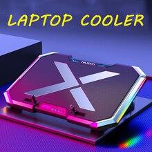 NUOXI игровой ноутбук кулер шесть вентиляторов светодиодный экран два usb-порта 2600 об/мин охлаждающая подставка для ноутбука Подставка для ноутбука 12-17 дюймов