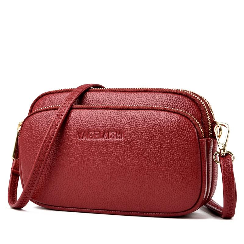 High Quality Women Leather Handbags Luxury Double Layer Women Bags Ladies Shoulder Crossbody Messenger Bags Female Sac 2020