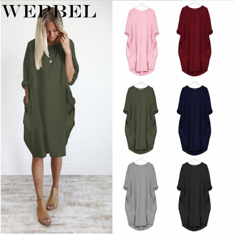 US $12.23 18% OFF|WEPBEL Women Oversized Dress Long Sleeve Tunic Dress Plus  Size Shirt Dress Baggy Pockets Short Jumper Dress-in Dresses from Women\'s  ...