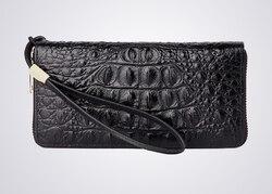 Bolso de cuero de cocodrilo de negocios largo casual para hombres cartera con cremallera de mano