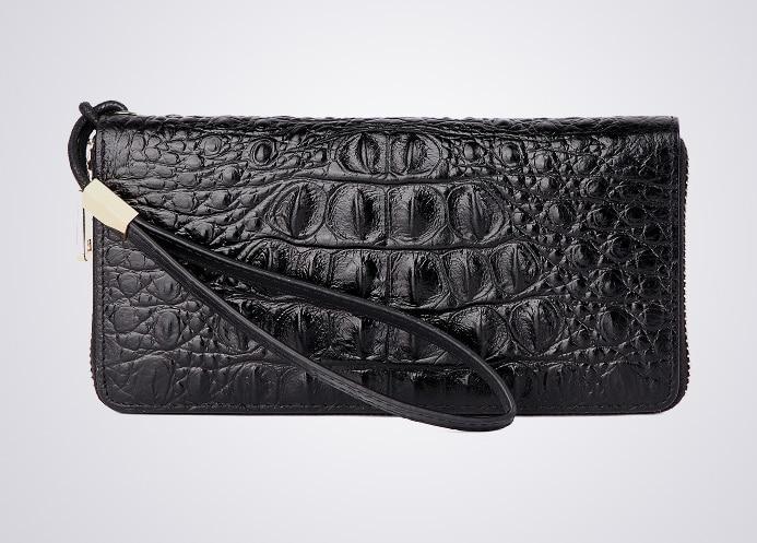 Crocodile Leather Business Long Casual Men Purse Wrist Wallet Zipper Clutch