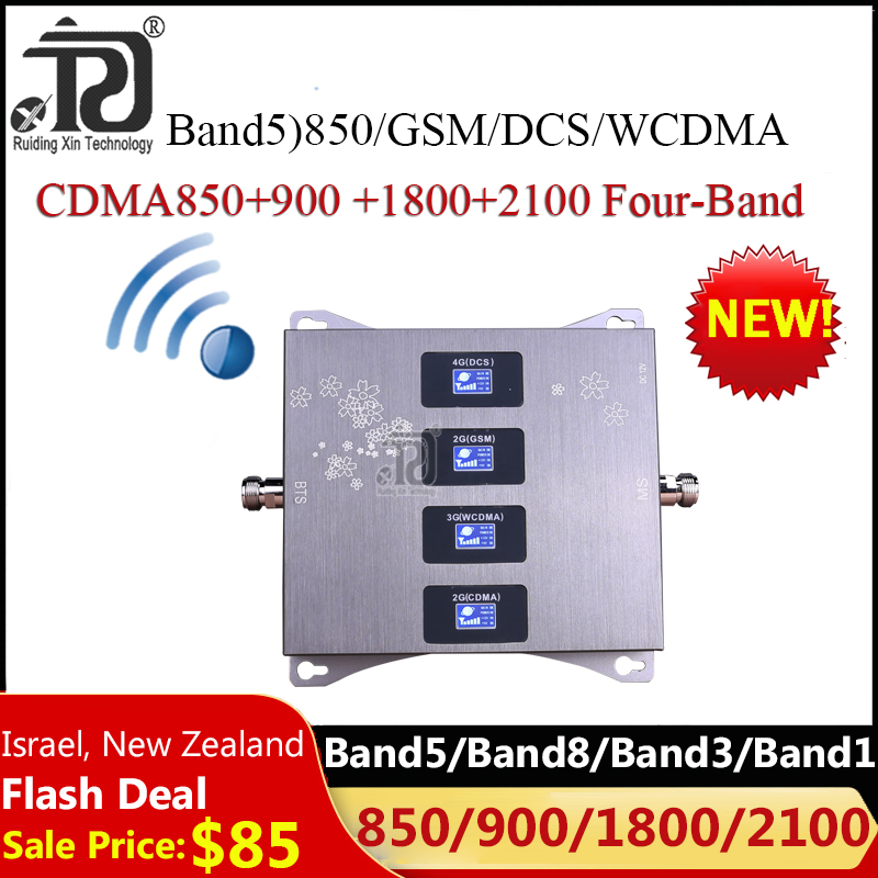 2020 New!! 850 900 1800 2100 Four-Band Signal Booster Mobile GSM Repeater 2G 3G 4G Cellular Amplifier CDMA GSM WCDMA DCS LTE