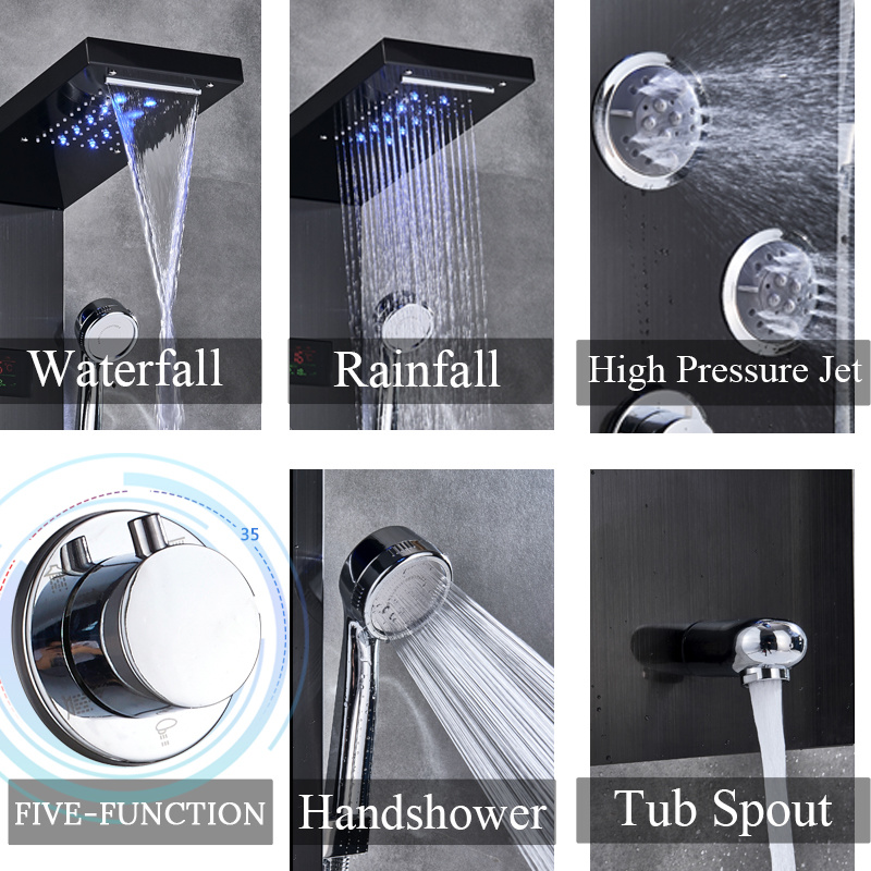 H14af1b342c404d6ea70449ae1465fc3fQ Newly Luxury Black/Brushed Bathroom Shower Faucet LED Shower Panel Column Bathtub Mixer Tap With Hand Shower Temperature Screen