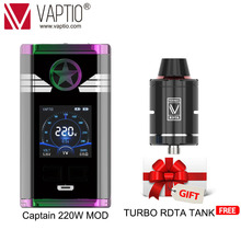 Vape Mod Original VAPTIO 220W Captain Box MOD 1.3'' Color TFT 510 thread FIT 18650 battery(Not included) support dropshipping цена 2017