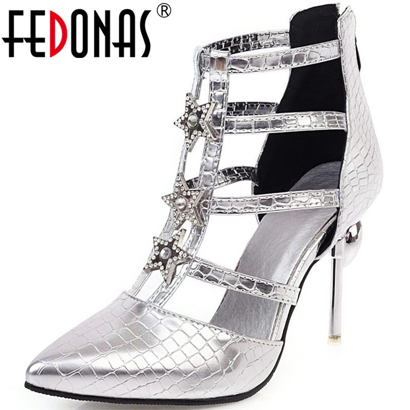 FEDONAS Sexy Rhineston High Heels Pumps Famale Back Zipper Pointed Toe Shoes Night Club Party 2020 Summer Autumn Shoes Woman