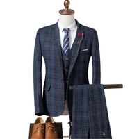 Men's  winter plaid suits men's suit 3-piece suit blazer + suit pants + vest groom wedding  dress men's pioneer boutique suits
