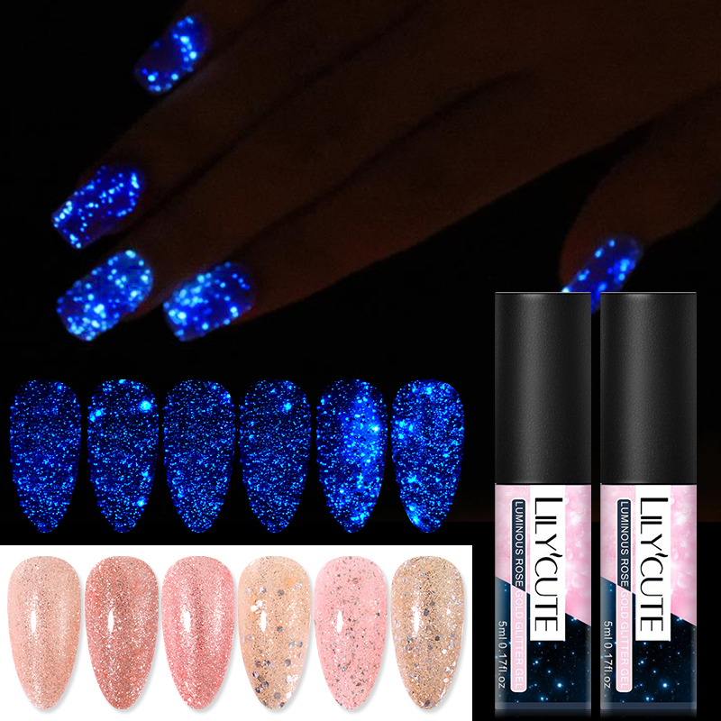 LILYCUTE 5ml Rose Gold Luminous Glitter Gel Polish UV Soak Off Nail Art Gel Varnish Semi Permanent Long Lasting Gel|Nail Gel|   - AliExpress