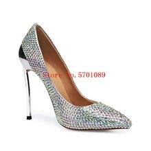 Silver Rhinestone Pointed Toe Stiletto Heels Genuine Leather Diamonds Iron Heel Bling Bling Wedding Shoes Pointed Toe 120mm faux pearl pointed toe stiletto heels