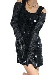 Gants d'opéra longs en cuir de mouton | De style vrai moyen invisible 70cm(27.6 ), gants longs noirs