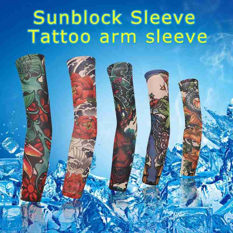 1pc Tattoo Sleeve Arm Cover 3D Printing Cycling Sleeves UV Protection Seamless Men Women Tattoo Arm Cover