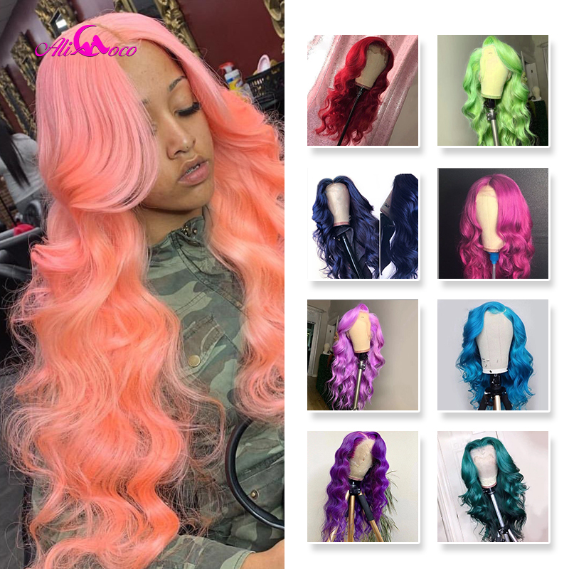 ALI Coco Green Body Wave Yellow Lace Front Wig Pink Red Light Blue Purple Ombre Colored Human Hair Wigs For Black Women