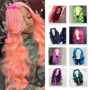 ALI Coco Green Body Wave Yellow Lace Front Wig Pink Red Light Blue Purple Ombre Colored Human Hair Wigs For Black Women(China)