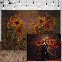 Mocsicka Fine Art Sunflower Floral Photography Background Hand Painted Backdrop Newborn Baby Child Maternity Portrait Photo