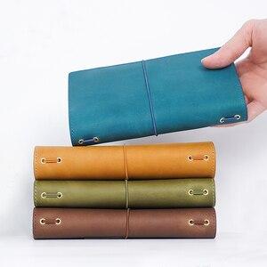 Image 1 - Cahier 100% en cuir véritable, planificateur fait à la main, cire dhuile, Agenda, carnet de croquis, Agenda, papeterie scolaire personnelle