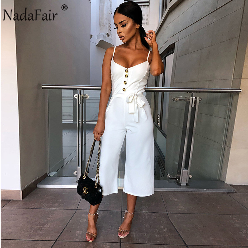 Nadafair Backless Sexy Rompers Womens Jumpsuit Belt Elegant Bandage Plus Size Black Black White Jumpsuit Overalls For Woman