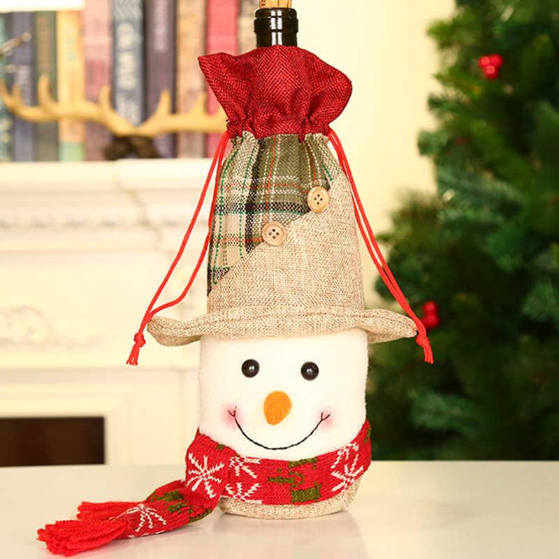 חג המולד יין בקבוק כיסוי סט סנטה קלאוס איש שלג צביים בקבוק כיסוי דקור חמוד חג המולד יין בקבוק דקור חג המולד ספקי