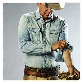 Water Washing Embroidery Denim Shirts Long Sleeved Shirt Hot Denim Shirt for Men Hot Sale New Style Fashion Men Cowboy Shirt men figure print patched denim shirt