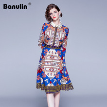 Banulin Designer Dresses Runway 2019 High Quality Autumn Casual Shirt Dress Women Floral Vintage Vestidos Robe Femme