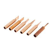 5PCS Solder Soldering Iron Tip Pure Copper Replacement Rework Station Tool Lead-free Welding Head Bits Electric DIY Repair