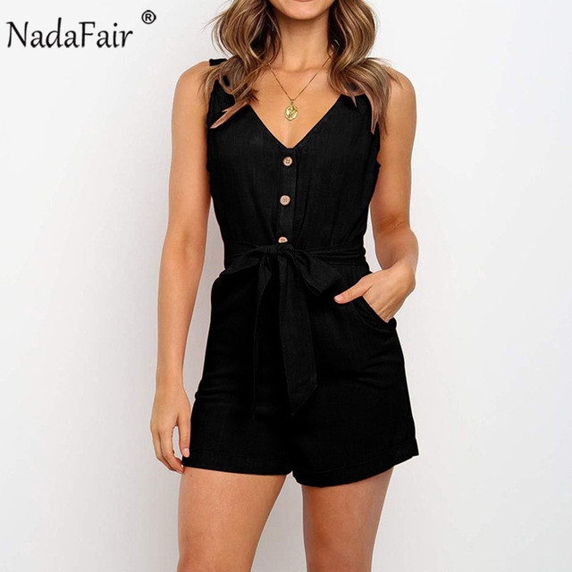 Nadafair Summer Casual Playsuit Women V Neck Belt Tunic Black Orange Pink Solid Overalls For Women Short Jumpsuit 3