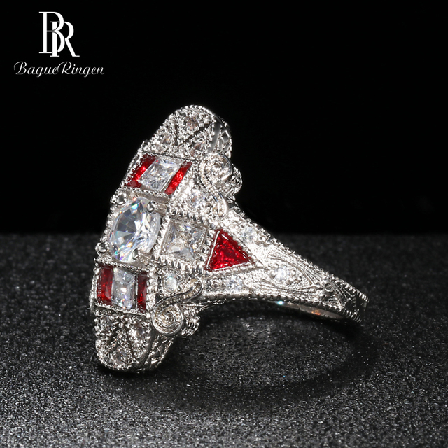 Bague Ringen Geometry Silver 925 Jewelry Gemstones Ring for Women Sapphire Ruby Exaggerated style Female Gift Wholesale Party 5