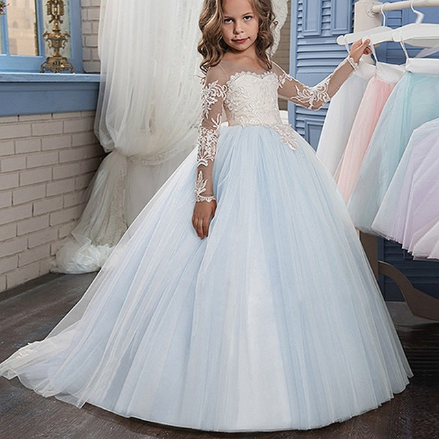 Ball Gown Flower Girl Dresses Long Sleeves Pageant Dress for Birthday Party