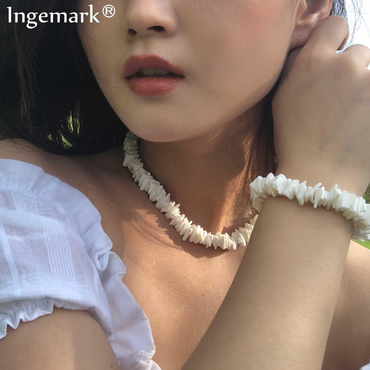 Ingemark הוואי Puka מעטפת קולר שרשרת NE + BA קוריאני לבן טבעי סדיר שבבי צדף צמיד עכס תכשיטי חתונה