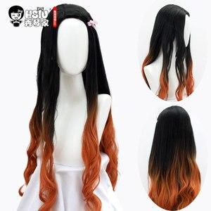 Image 2 - HSIU Kamado Nezuko Anime Cosplay déguisement perruque démon Slayer Kimetsu no Yaiba Kimono uniforme cape ensemble complet Halloween dégradé cheveux