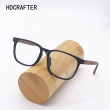 HDCRAFTER Optical Eye Glasses Frame Ultralight Square Prescription Eyeglasses Wood Frames with Clear Lens For Men Women