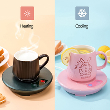 2 in 1 Cup Heater Cooling Cup Thermostatic Hot Tea Makers USB Charge Heating Coaster Heater for Coffee Milk Tea Warmer Pad 5V