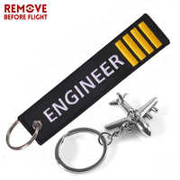 ENGINEER Key Chain Anahtarlik Label Embroidery Keychain with Metal Plane Key Chain for Aviation Gifts Car Keychains