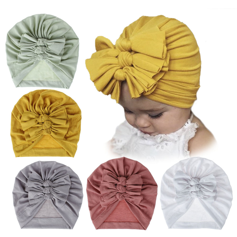 Large Messy Bow Baby Girls Boys Cotton Hats Bebes Three Bow Hat Newborn Baby Turban Knotted Warm Headwrap Infant Boys Beanie Cap