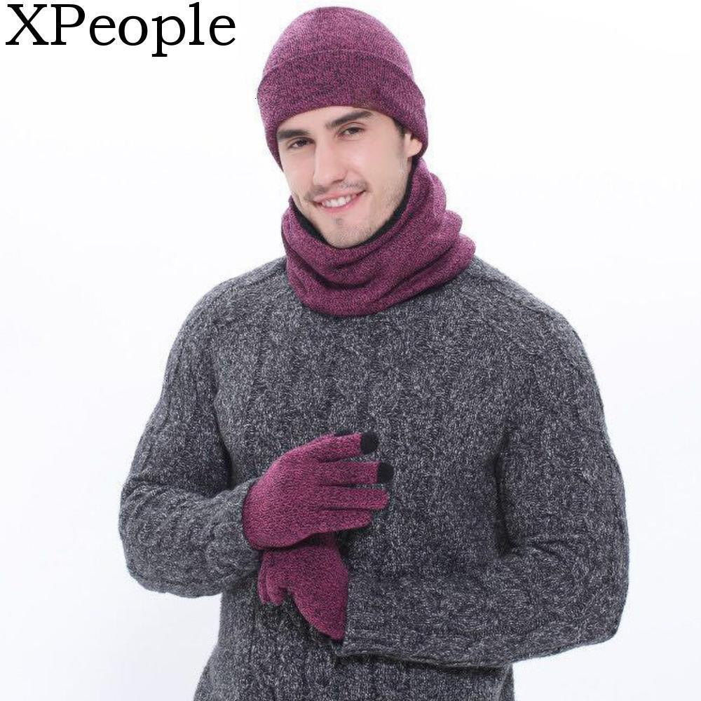 XPeople Winter Warm 3 Pcs Knit Beanie Hat Loop Scarf Neck Warmer Sets Touch Screen Gloves Set For Men Women Winter Accessories