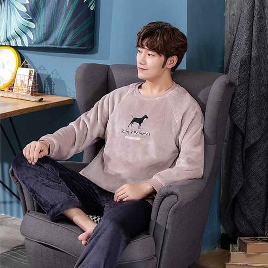 Jodimitty Pijamas Men Winter Thick Warm Flannel Mens Pajama Set Long Sleeve Coral Velvet Sleepwear Suit Loungewear Home Clothes