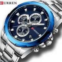 Relojes CURREN para Hombre Reloj de pulsera deportivo de lujo con fecha automática Reloj de cuarzo para Hombre con correa de acero inoxidable Reloj impermeable para Hombre