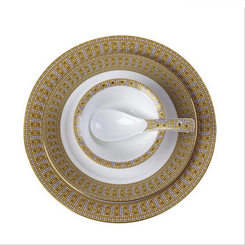 Service d'assiettes à dîner rondes en céramique | En or, en porcelaine, vaisselle à Steak, bol à soupe de riz, cuillère maison Dec 3 pièces/ensemble