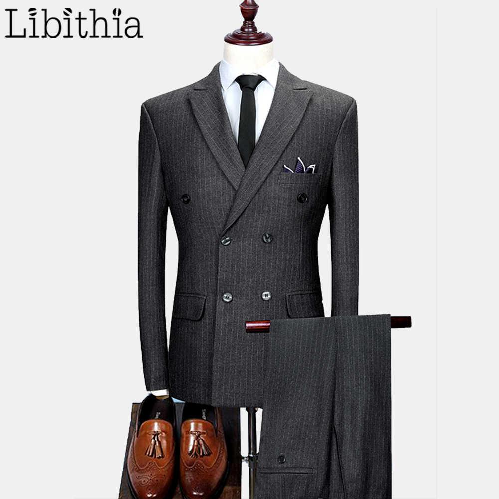 男性 3 個ストライプスーツ高級スリムフィットダブルブレストブレザーウェディングドレス作業服男性黒紺グレー b037